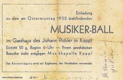 Musikerball Karte 1932
